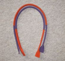 Handle for bags - natural  leder - violet / orange