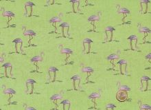 Makower - Fern Garden Flamingo Green
