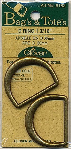 Clover -  D-rings - antique gold