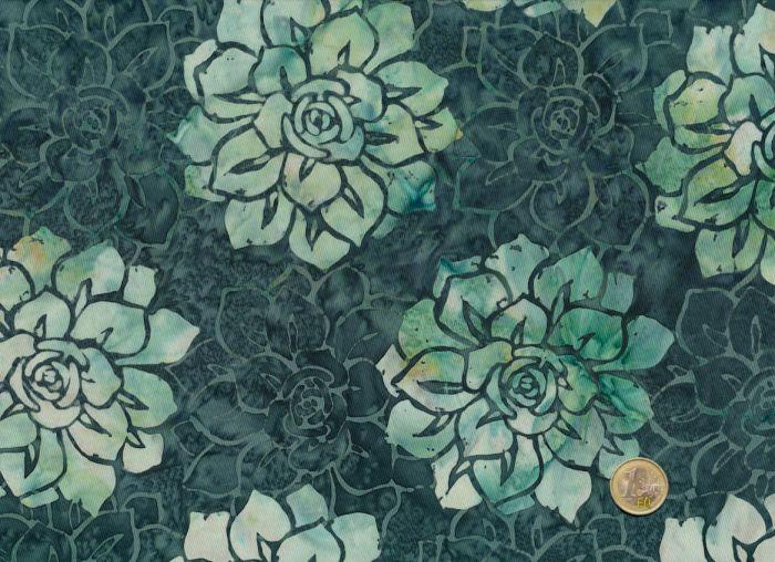 Hoffman Fabrics - Bali Handpaints - Blüten Petrol