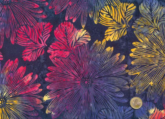 Hoffman Fabrics - Bali Handpaints - Blüten Dunkelblau