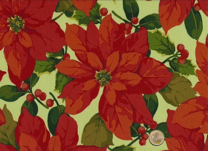 Martha Negley - Poinsettia & Holly - Natural