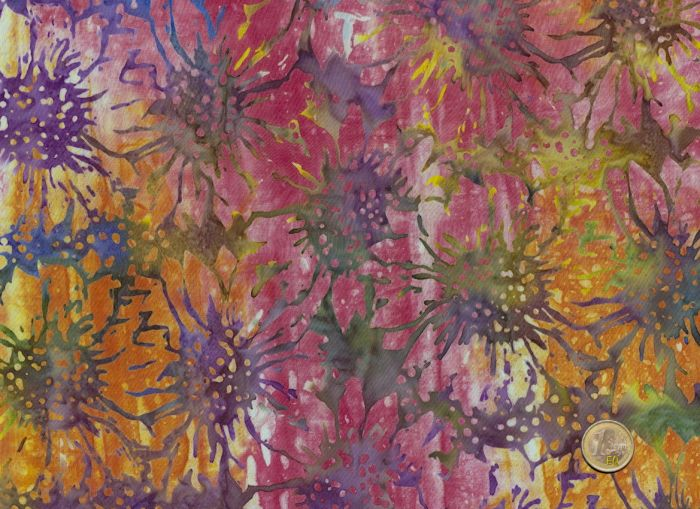 Island Batik - Blossoms on pink