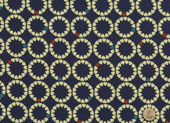 Makower - Radiance Heart Circles Deep Blue