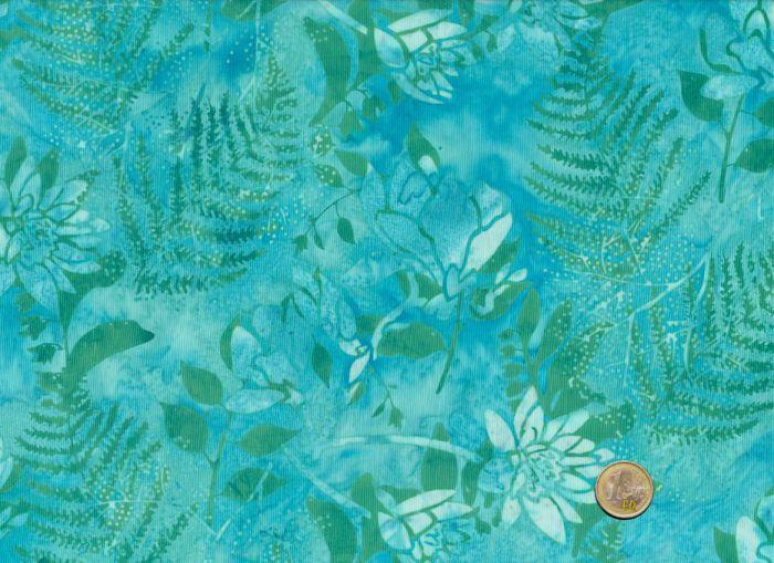 Hoffman Fabrics - Bali Handpaints - Blüten Türkis