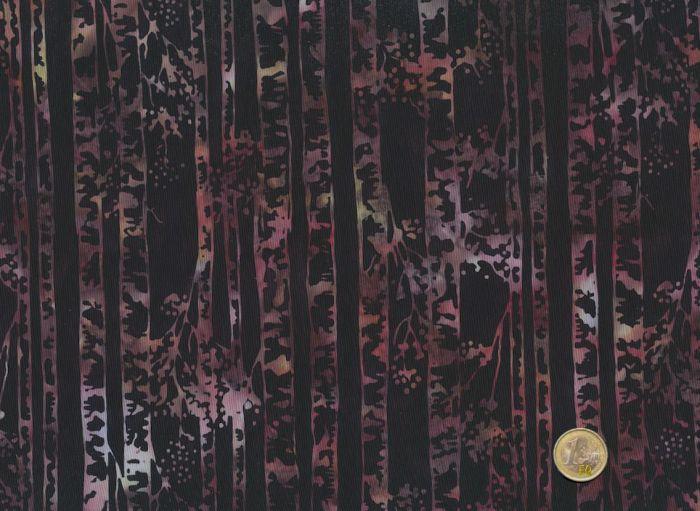 Hoffman Fabrics - Bali Handpaints - Birkenstämme schwarz / Lila