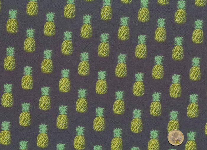 Makower - Fern Garden Pineapples grey