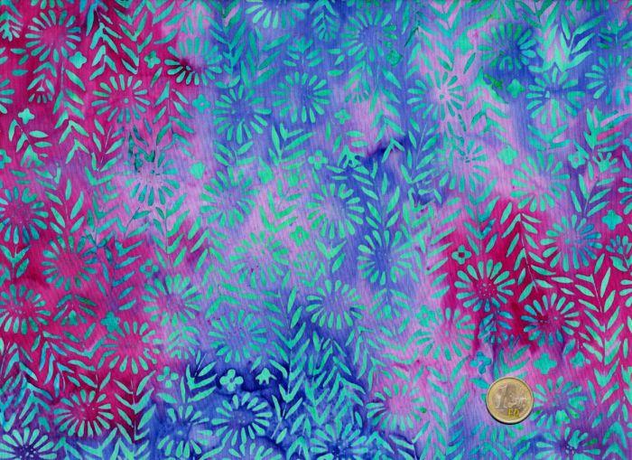 Island Batik - Blossoms on turquoise
