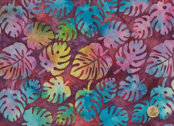Island Batik - Blätter  Bordeaurot