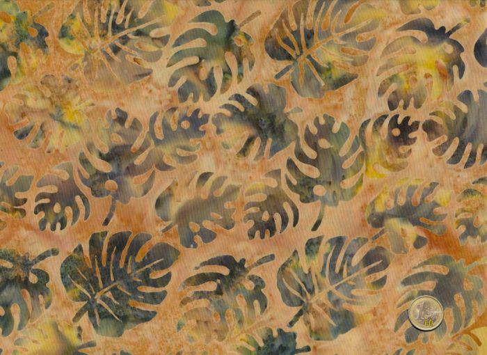 Island Batik - Blätter  Ocker