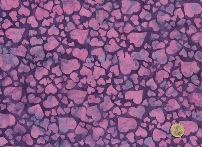 Patchworkstoff Island Batik - Herzen Lila
