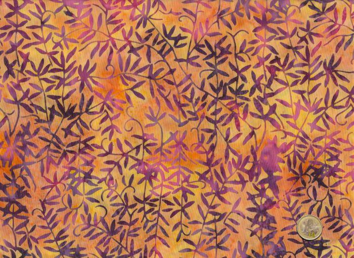 Island Batik - Blätter - Blättermuster Lila