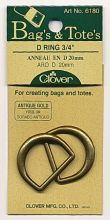Clover - D-Ring Antikgold - 20 mm