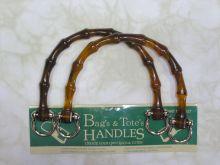 Clover -  bag handles - imitation bamboo amber