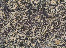 Island Batik - Blüten Creme/grau