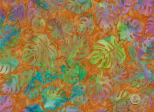 Island Batik - Blätter  Hellbraun